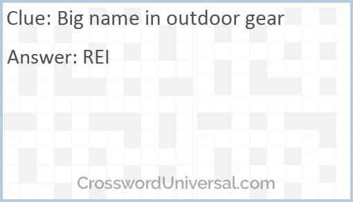 Big name in outdoor gear Answer