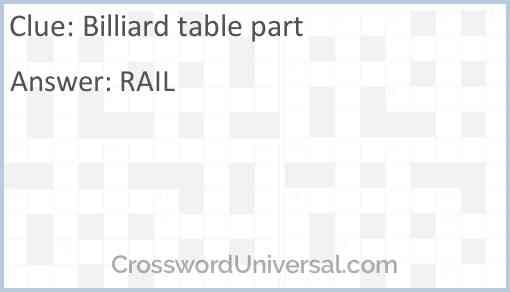 Billiard table part Answer
