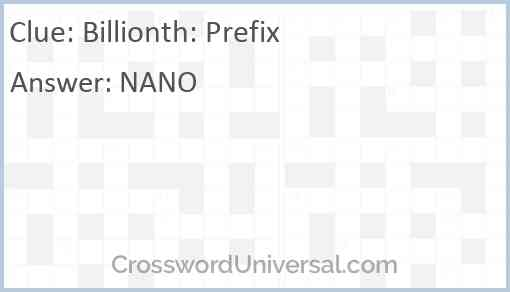 Billionth: Prefix Answer