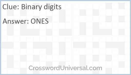 Binary digits Answer