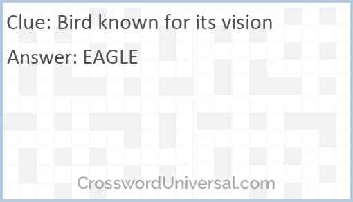 Bird known for its vision Answer