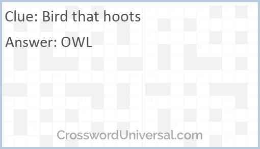 Bird that hoots Answer
