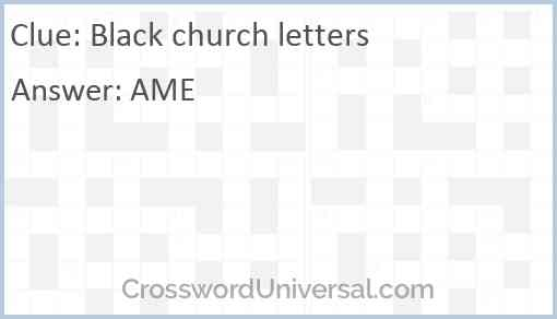 Black church letters Answer