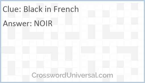 Black in French Answer