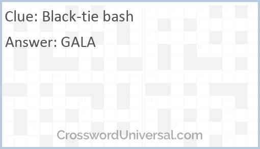 Black-tie bash Answer