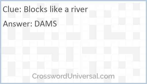 Blocks like a river Answer