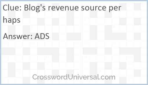 Blog's revenue source perhaps Answer