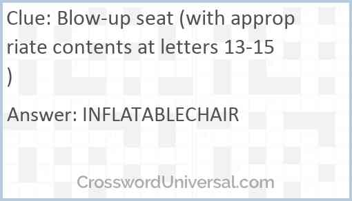 Blow-up seat (with appropriate contents at letters 13-15) Answer