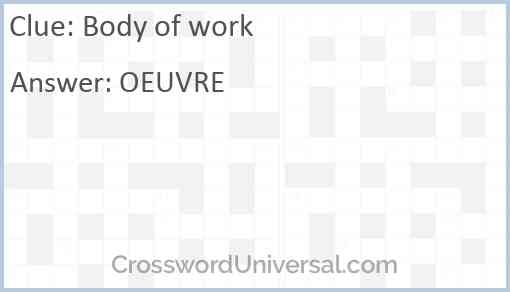 Body of work Answer