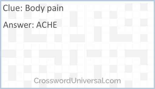 Body pain Answer