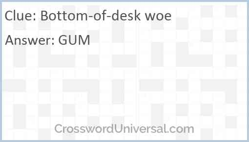 Bottom-of-desk woe Answer