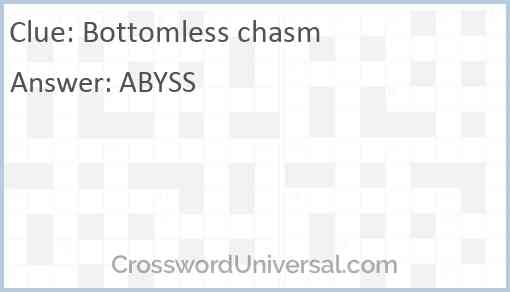 Bottomless chasm Answer