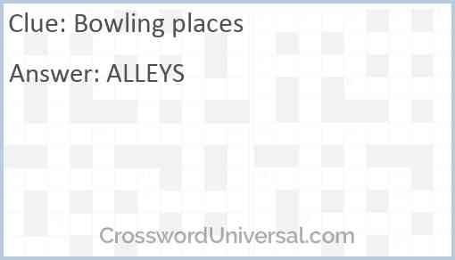 Bowling places Answer