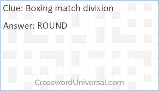 Boxing match division Answer