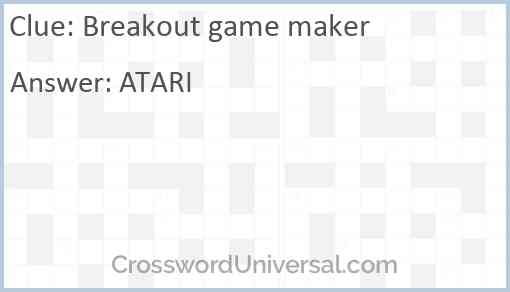 Breakout game maker Answer
