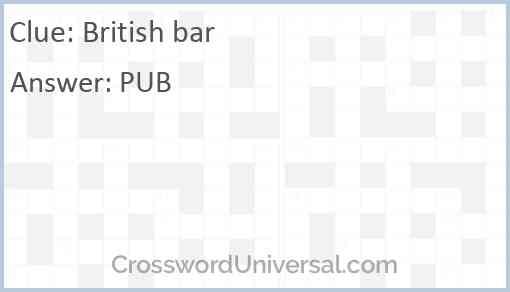 British bar Answer