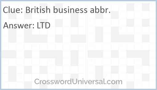 British business abbr. Answer