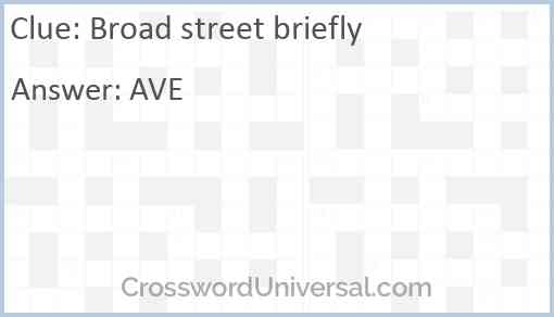 Broad street briefly Answer