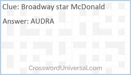 Broadway star McDonald Answer
