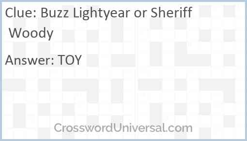 Buzz Lightyear or Sheriff Woody Answer