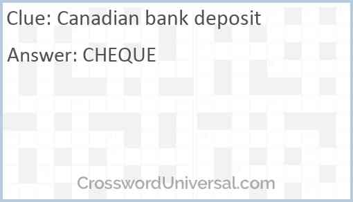 Canadian bank deposit Answer