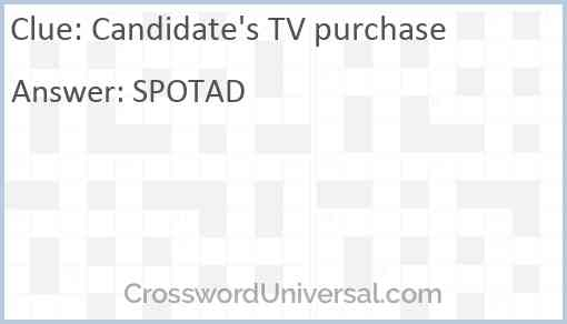 Candidate's TV purchase Answer