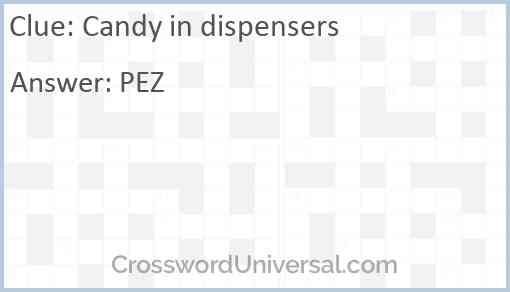 Candy in dispensers Answer