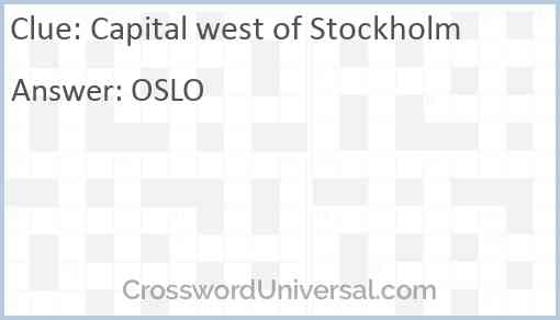 Capital west of Stockholm Answer