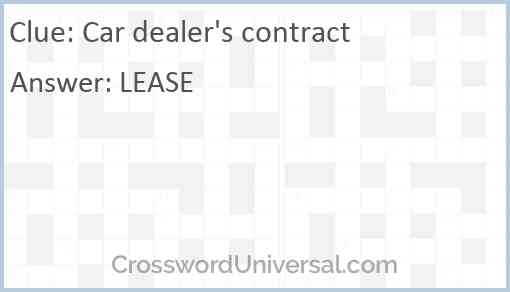 Car dealer's contract Answer