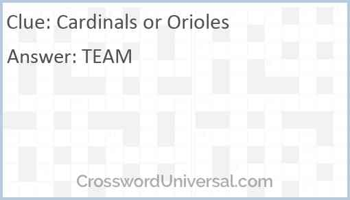 Cardinals or Orioles Answer