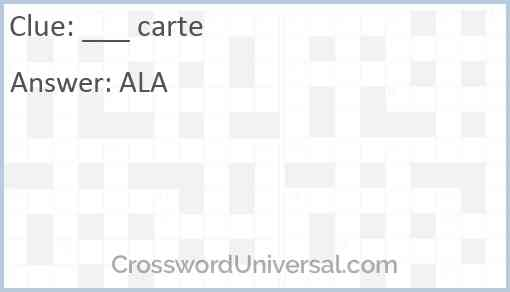 ___ carte Answer