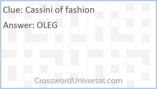 Cassini of fashion Answer