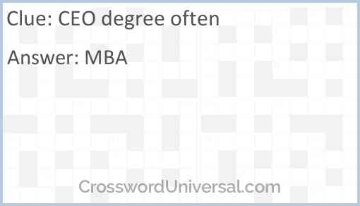 CEO degree often Answer