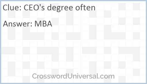 CEO's degree often Answer