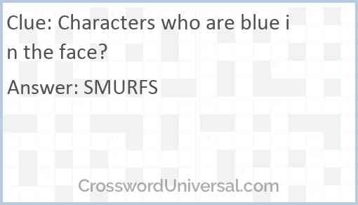 Characters who are blue in the face? Answer