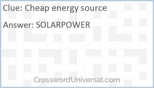 Cheap energy source Answer