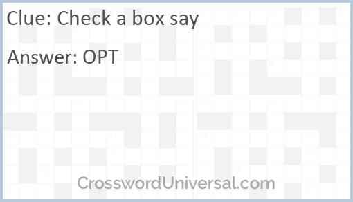 Check a box say Answer