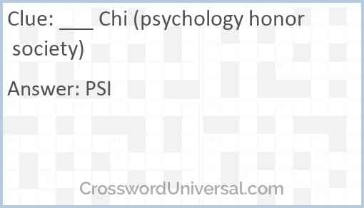 ___ Chi (psychology honor society) Answer