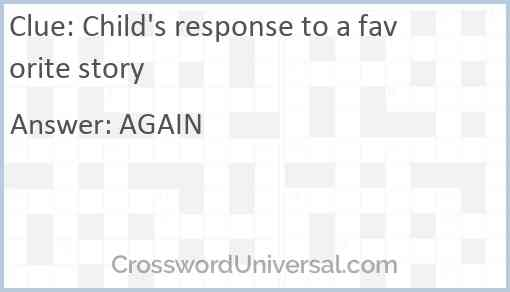 Child's response to a favorite story Answer