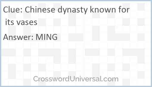Chinese dynasty known for its vases Answer