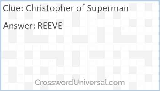 Christopher of Superman Answer