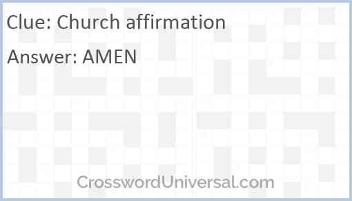 Church affirmation Answer