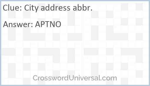 City address abbr. Answer