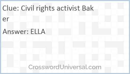 Civil rights activist Baker Answer