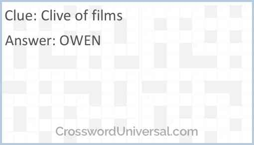 Clive of films Answer