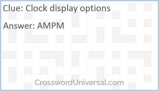 Clock display options Answer