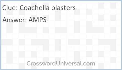 Coachella blasters Answer