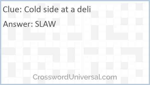 Cold side at a deli Answer