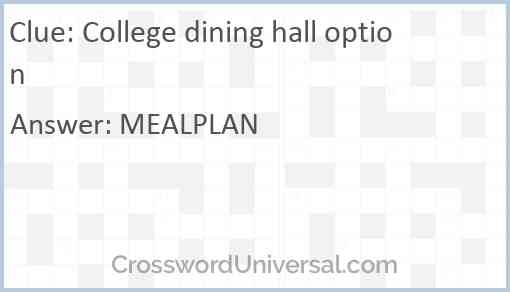 College dining hall option Answer
