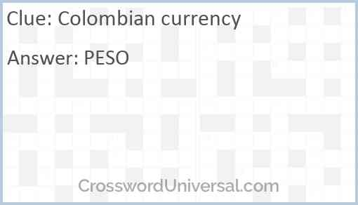 Colombian currency Answer